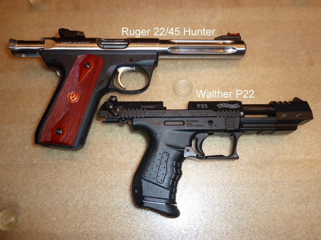 side by side comparison with bolt ruger and slide p22 open r