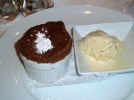 Chocolate soufflé with vanilla gelato