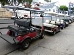 A Line of Autoettes (aka, Golf Carts)
