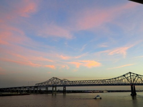Pink Cotton Candy Clouds over the Mississippi
