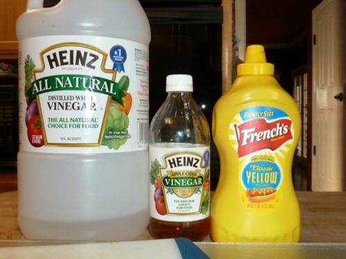 Sauce ingredients:  Apple Cider or Distilled White Vinegar and Yellow Mustard