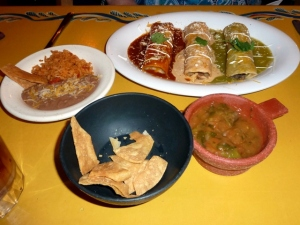 Mi Casa — Chips, Salsa, and Enchiladas with Beans and Rice
