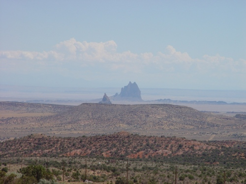 Shiprock with Igneous Dike radiating left