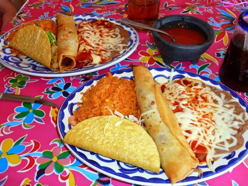 Two Combination Plates and a Bowl of Salsa