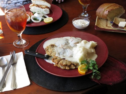 Chicken-Fried Steak, Mashed Potatoes, and Cream Gravy