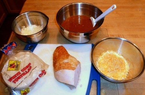 Turkey breast, enchilada sauce, onion, corn tortillas, cheese
