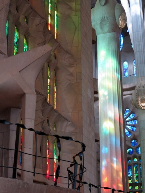 Stained Glass Light Playing on Column