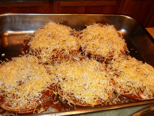 Add third and final layer, and top only with cheese and onion