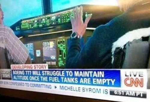 News Flash:  Boeing 777 won't fly without fuel.  No JOKE!