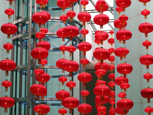 Lanterns inside the base of the Oriental Pearl Tower