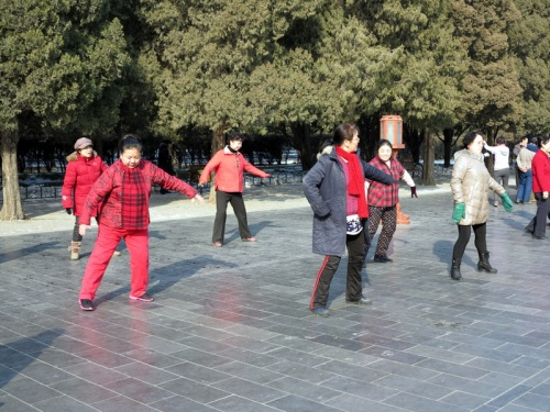 Exercising on the grounds of the Temple of Heaven