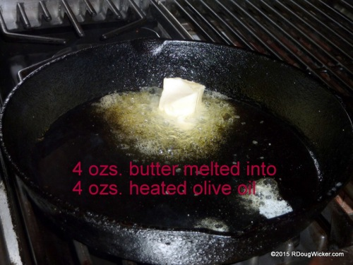 Heat the oil and add the butter