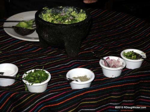 Cilantro, salt, cumin, red onion, diced jalapeño, lime juice