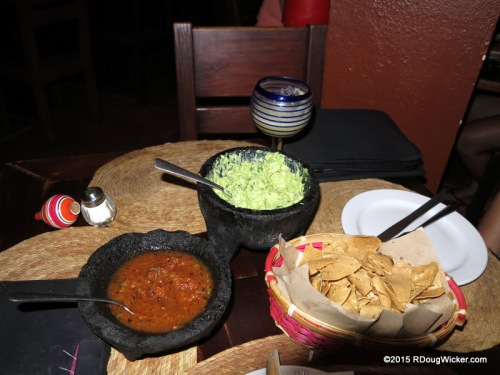 Guacamole, chips, and salsa
