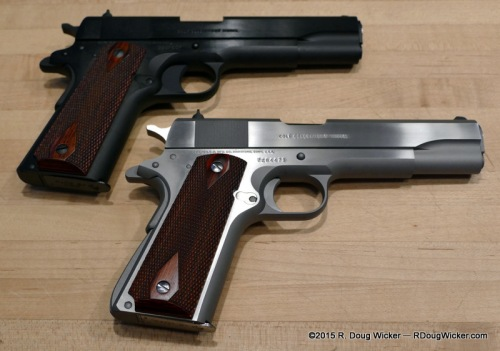 Colt M1991A1 (blue, top); Colt Mk. IV Series 70 (stainless, bottom)