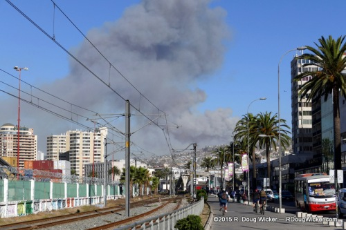 Intense Fire on the road from Santiago