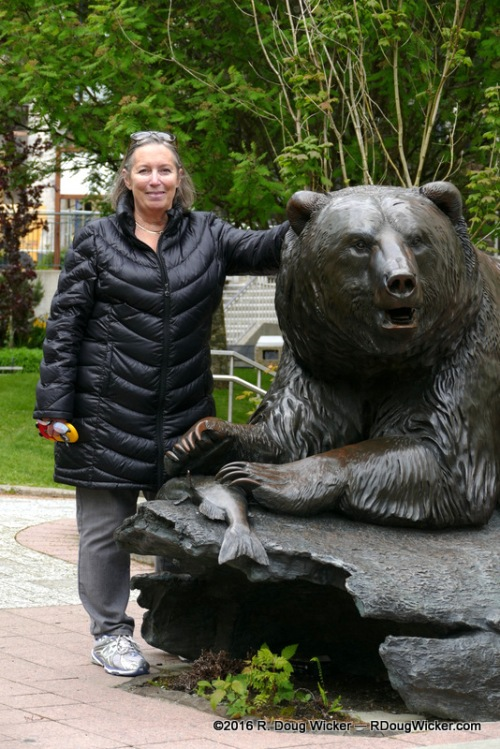 "Ursula posing with an Ursa (Latin for ""Bear"")"