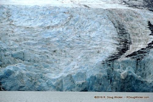 Portage Glacier with a ribbon of Moraine (rock debris)