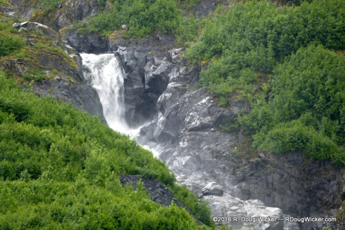 Waterfall cascading into Portage Lake