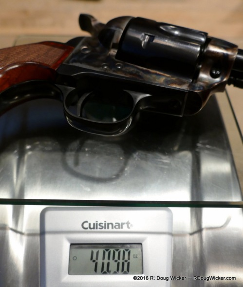 Uberti El Patrón in .357 Magnum/.38 Special weighs 2.82 ounces/80 grams more