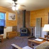 Riverside Lodge & Cabins wood burning stove