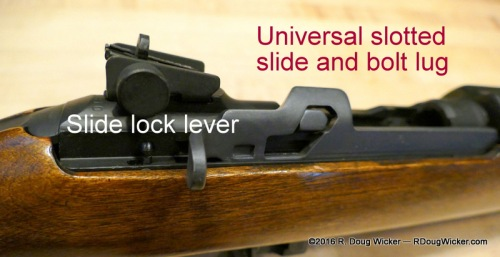 Universal M1 Carbine lever-type slide lock; also pictured are the slotted slide and bolt lug