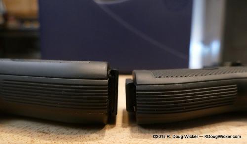 Grip width comparison — 84FS vs 85FS
