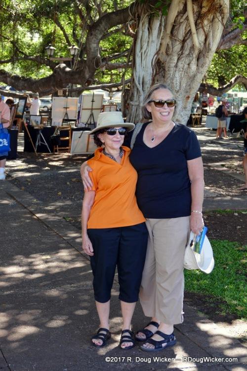 Lisa Fittipaldi and Ursula in Lahaina Banyan Court Park