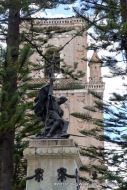 Statue, Trees, and Steeple