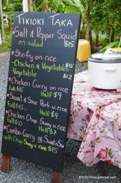 Muri Night Market vendor menu